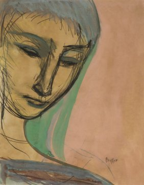 Josef Presser (1907 - 1967) Portrait Of Woman, Gauche,