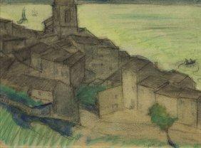Leopold Gottlieb (1879 - 1934) City View, Pencil,