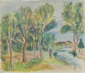 Henryk Epstein (1891 - 1944) Landscape, Watercolour On