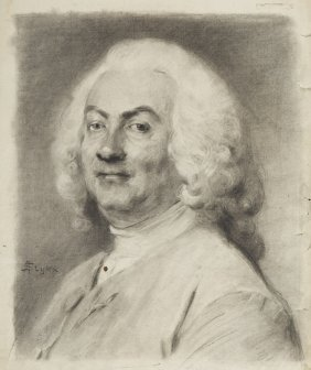 Jan Styka (1858 - 1925) Portrait Of Man, Pencil On