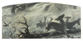 Jozef Ryszkiewicz (1856 - 1925) Does, Oil On Cardboard