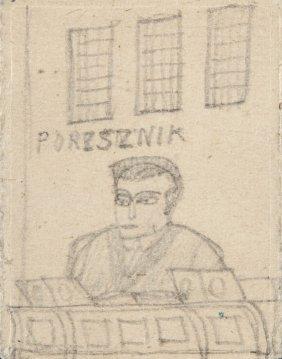 Nikifor Krynicki (1895 - 1968) Portrait Of Man, Pencil