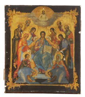 A Deesis, Icon, Russia, Late 19th Century, Tempera On