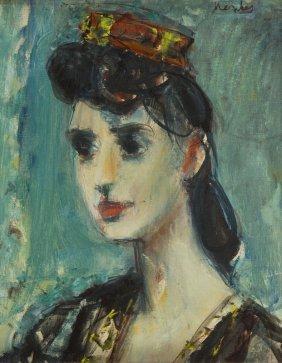 Zygmunt Jozef Menkes (1896 - 1986), Lady In A Hat, Oil