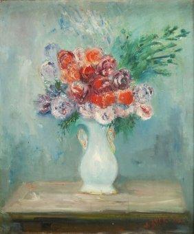 Jakub Zucker (1900 - 1981), Flowers In A White Vase,