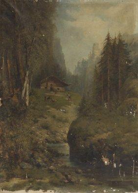 Jan Berger (1863 - 1930), Mountain Landscape, Oil On