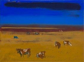 Magdalena Szilke (b. 1983) Cows On Mars, 2016, Oil On