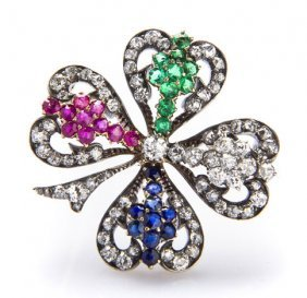 Brooch In The Form Of Four-leaf Clover, 1950s, Vienna;