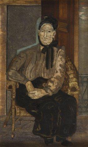 """Jankiel Adler (1895 - 1949), """"sitting Woman"""", 1928, Oil"""