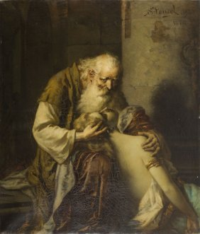 Maurycy Sztencel (1856 - 1930), King Lear And Cordelia,