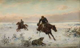 Jozef Jaroszynski (1835 - 1900), Hunting, Oil On