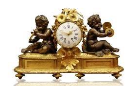 19th C. 1840's French Gilt Bronze Clock