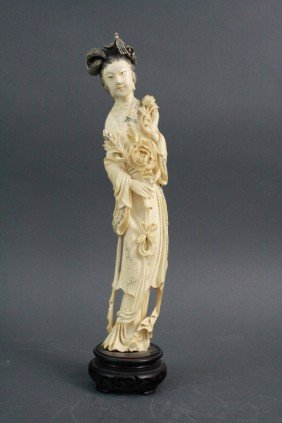 Signed Chinese Ivory Figure Of Maiden