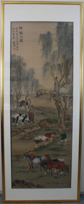 Qian Feng Framed Paint Of 8 Horses
