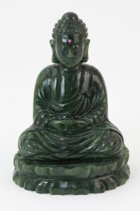 Chinese Spinach Jade Seating Buddha