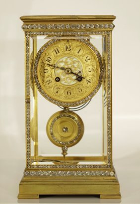A Late 19th C. Mantle Clock W/ Jewels