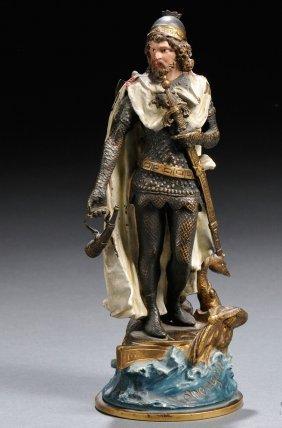 Antique Cold Painted Bronze Figure Of Lohengrin