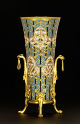 """French 19th C. Cloisonne Vase, Signed """"barbedienne"""