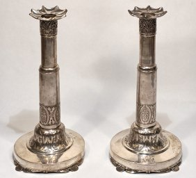 Pair Of Russian Silver Pan Slavic Candleholder1838