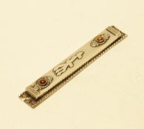 Silver Mezuzah Holder W/ Persian Stones