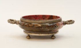 """Russian Gemstone Silver Bowl, Marked""""84"""""""