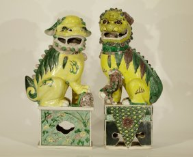 2 Pieces Of Chinese Porcelain Foo Dogs