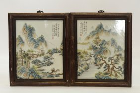 Pair Of Chinese Porcelain Painting Plaques