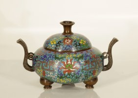 Chinese Qing Dynasty Cloisonne Bronze Censer