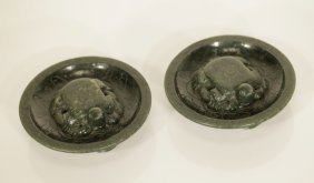 Pair Of 18th C. Qing Dynasty Chinese Spinach Jade