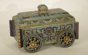 Chinese Enamel Cart W/ Movable Wheels