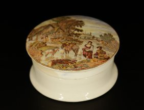 Antique European Porcelain Box, Pained Over Cover