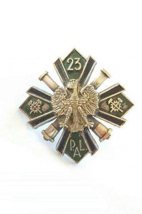 Antique Polish Artillery Enamel Badge