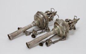 Pair Of Sterling Silver Torah Crowns