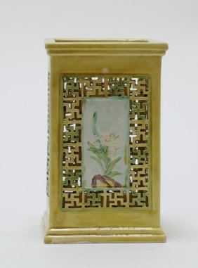 Qing Dynasty Chinese Square Yellow Glazed Brushpot