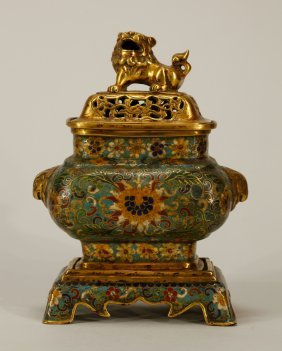Chinese Enamel Bronze Incense Burner W/ Lion Cover