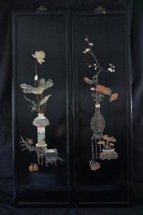 Pair Of Chinese Wood Screen W/ Stone Inlaid