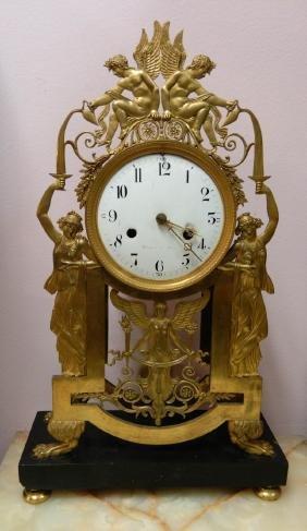 French Dore Bronze Gilt Clock