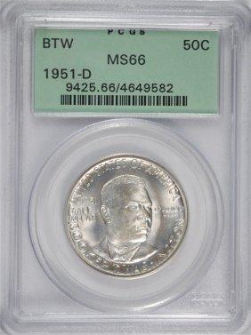 1951-d Booker T Washington Half Dollar Pcgs Ms66 Ogh
