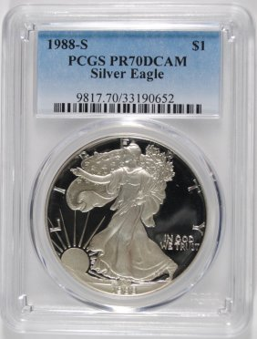 1988-s Proof American Silver Eagle, Pcgs Pr-70 Dcam