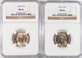 1944 & 1951-d Jefferson Nickels, Ngc Ms-66