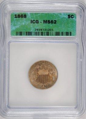 1868 Shield Nickel Icg Ms62