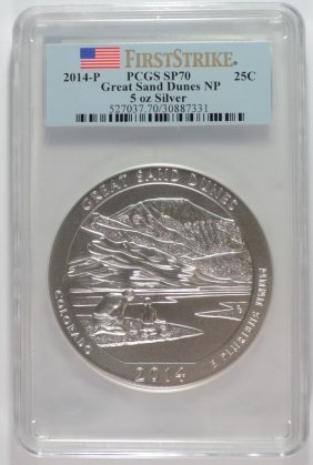 2014 (5 Ozt .999 Fs) Great Sand Dunes Pcgs Sp-70 (first