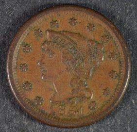1851 Large Cent Xf/au
