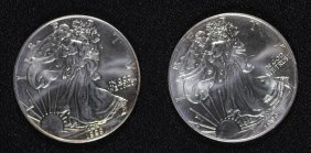 ( 2 ) 1999 Uncirculated American Silver Eagles,