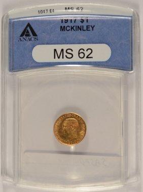 1917 Mckinley Memorial Gold Dollar, Anacs Ms-62