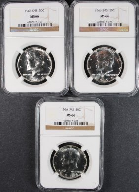 (3) 1966 Kennedy Half Dollars Sms Ngc Ms66