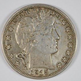 1915-s Barber Half Dollar, Xf/au Super Original Coin