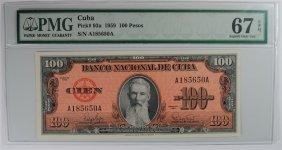 1959 Cuba 100 Pesos Pmg 67 Epq