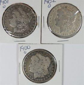 3 - Morgan Silver Dollars ; 1900-o, 1901-o, 1902-o,