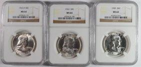 1959, 63 & 63-d Franklin Half Dollars, Ngc Ms-64